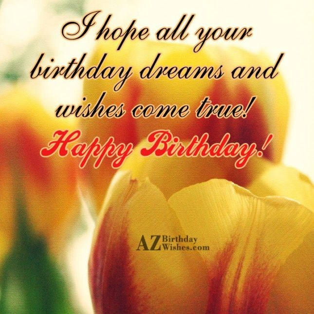 Birthday greetings with yellow tulips… - AZBirthdayWishes.com