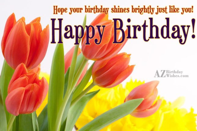 Wishing birthday with orange tulips in the background… - AZBirthdayWishes.com