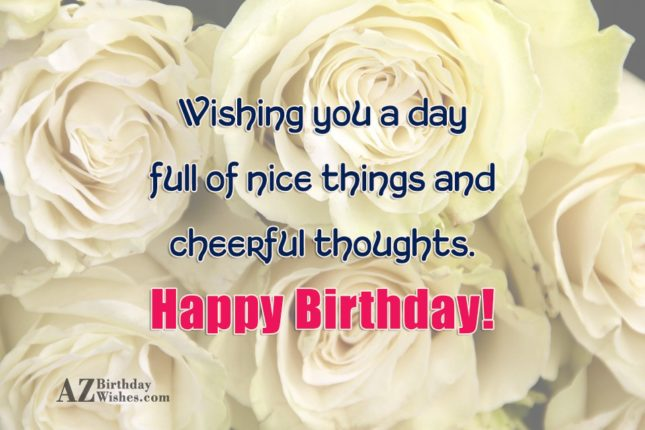 Birthday greetings with white roses in the background… - AZBirthdayWishes.com