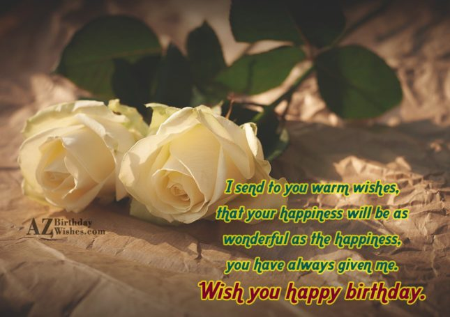 Birthday with with two white roses in the background… - AZBirthdayWishes.com