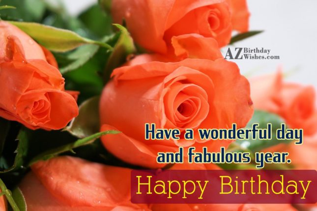 Happy birthday with beautiful flowers in the background… - AZBirthdayWishes.com