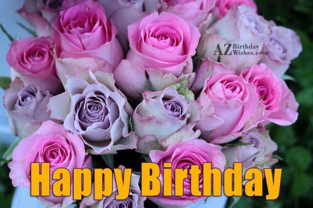 Happy birthday on pink and purple flowers… - AZBirthdayWishes.com