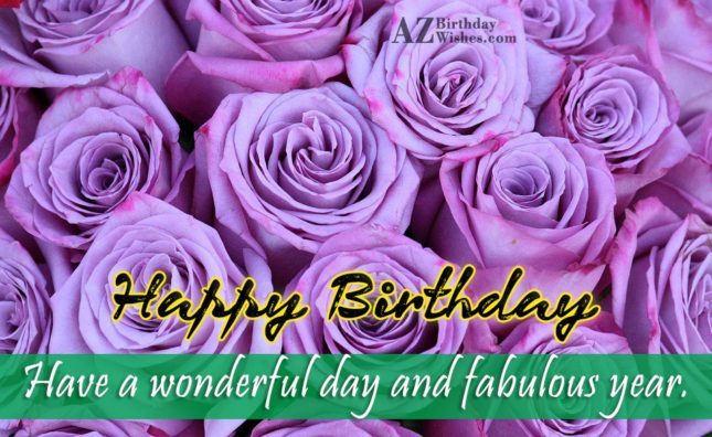 Birthday greetings on purple roses… - AZBirthdayWishes.com