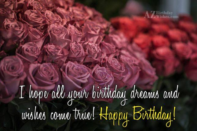 Happy birthday wishes with bouquet of flowers… - AZBirthdayWishes.com
