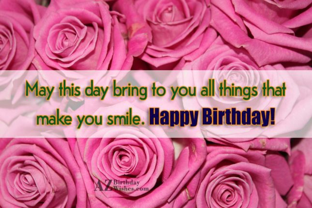 Birthday greeting on bouquet of pink roses… - AZBirthdayWishes.com