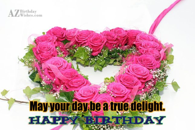 birthday wishes on a heart made out of roses… - AZBirthdayWishes.com