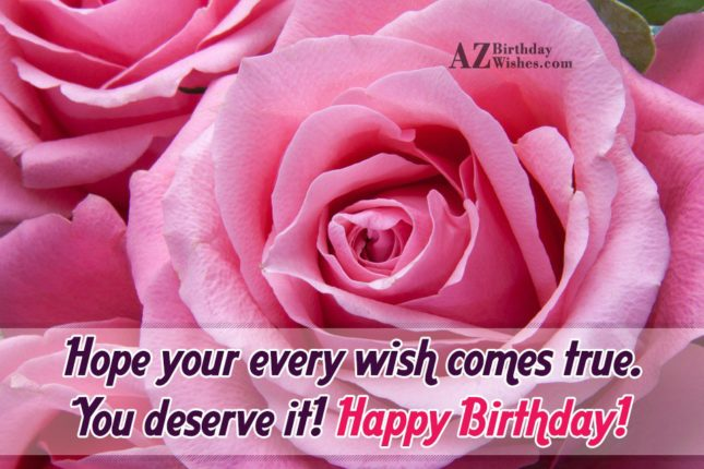 Happy birthday wish on a pink rose… - AZBirthdayWishes.com