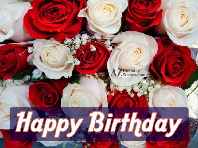 Happy birthday on red and white roses… - AZBirthdayWishes.com