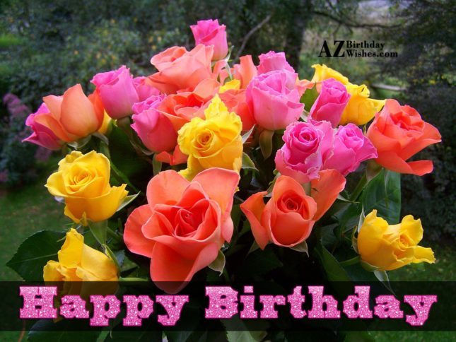 Happy birthday wish on colorful tulips… - AZBirthdayWishes.com