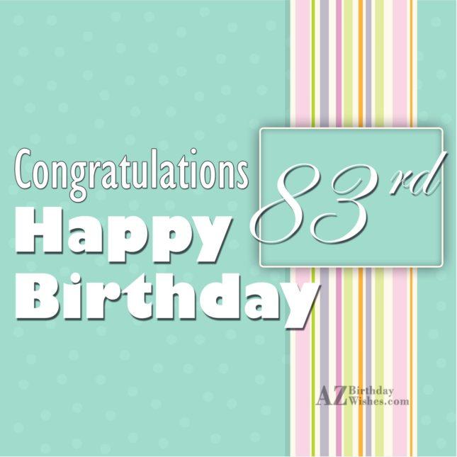 A very happy 83th birthday… - AZBirthdayWishes.com