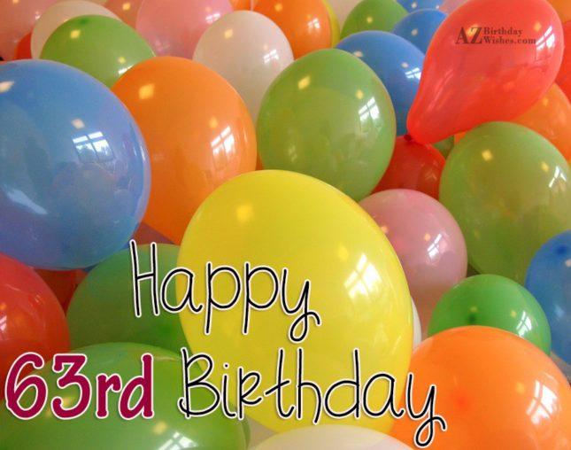 Happy 63rd birthday… - AZBirthdayWishes.com