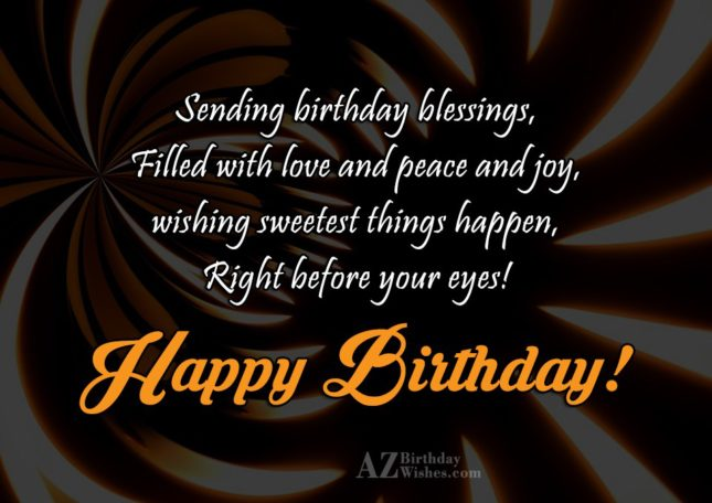 Sending birthday blessings… - AZBirthdayWishes.com
