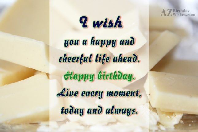 Birthday wish on White chocolate… - AZBirthdayWishes.com