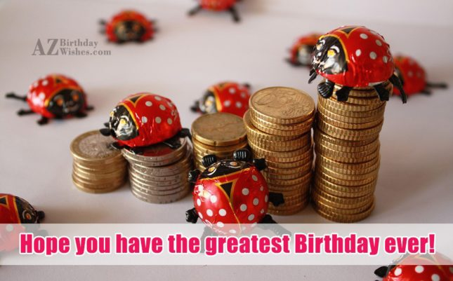 Birthday wishes with beetle shaped chocolate… - AZBirthdayWishes.com