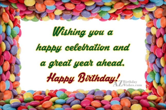 Birthday wishes with border of M&M's… - AZBirthdayWishes.com