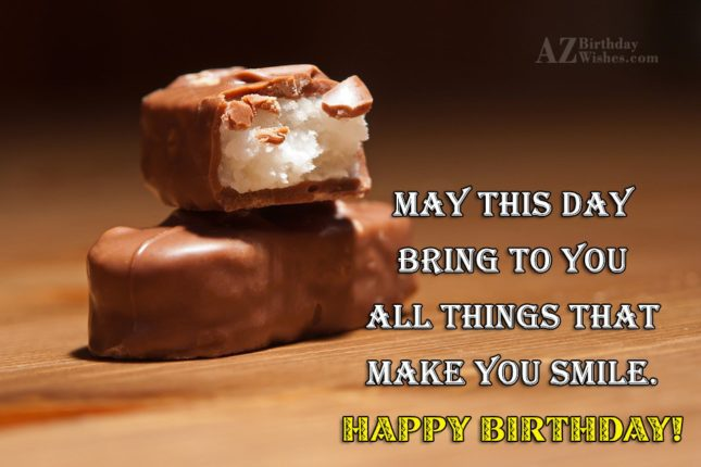 Birthday greetings on chocolate filled with coconut… - AZBirthdayWishes.com