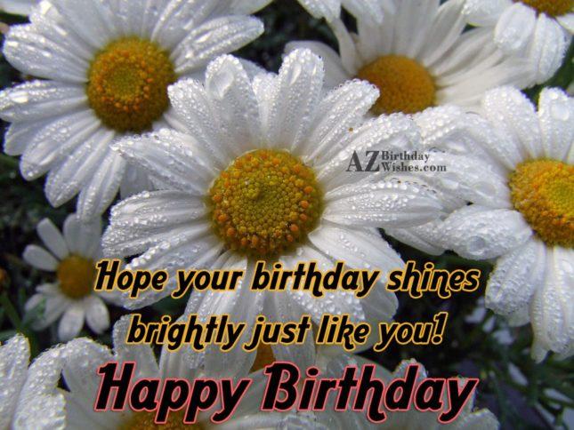 Hope your birthday shines brightly… - AZBirthdayWishes.com