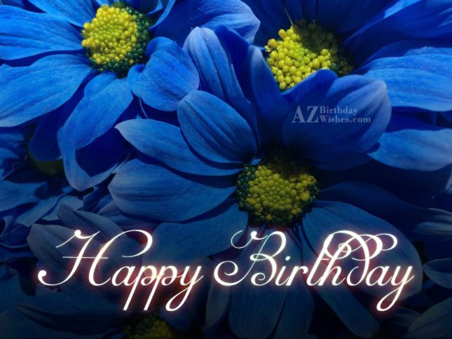 Happy birthday on blue lilies.. - AZBirthdayWishes.com