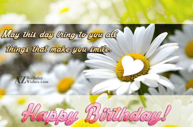 Happy birthday with a heart made on a white lily… - AZBirthdayWishes.com