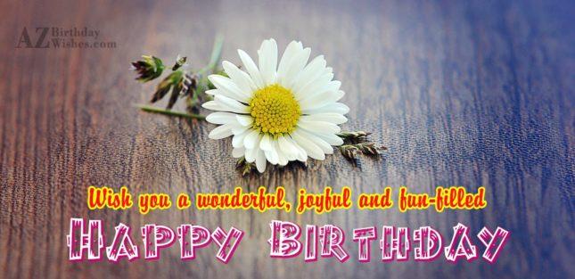 Wish you a wonderful joyful… - AZBirthdayWishes.com