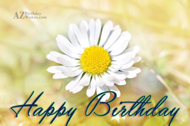 Happy birthday on a white lily… - AZBirthdayWishes.com