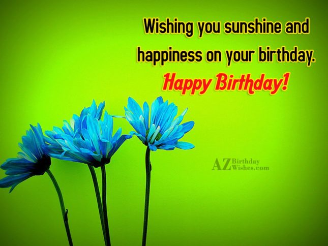 Wishing you happiness on your birthday… - AZBirthdayWishes.com