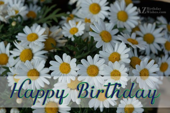 Happy birthday on beautiful white lilies… - AZBirthdayWishes.com