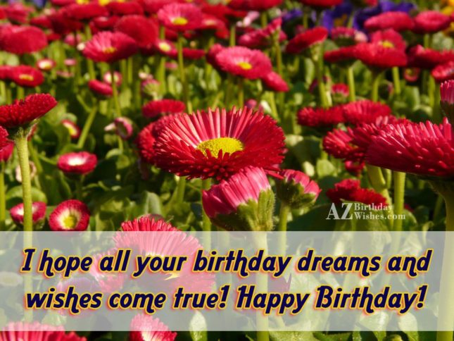 I hope all your birthday dreams come true… - AZBirthdayWishes.com