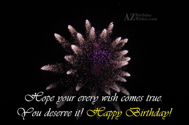 Hope your every wish… - AZBirthdayWishes.com