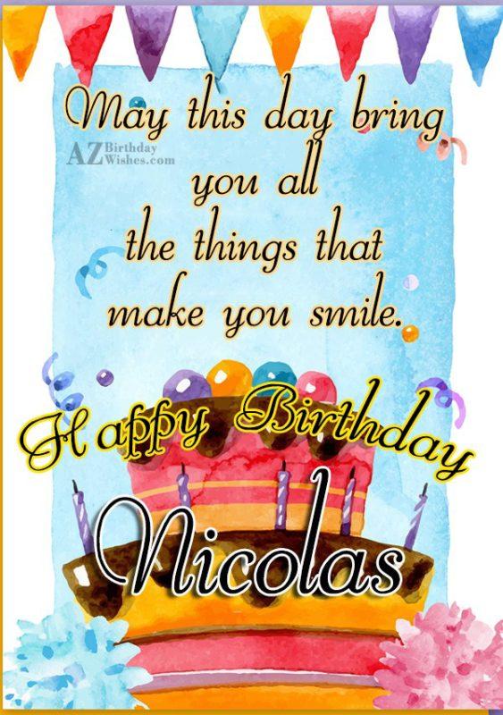 Happy Birthday Nicolas - AZBirthdayWishes.com
