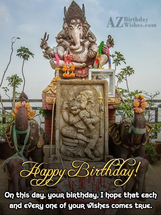 Happy birthday on statue of Ganesha… - AZBirthdayWishes.com