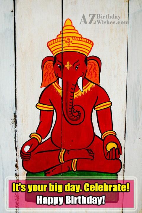birthday wish on painting of Ganesha… - AZBirthdayWishes.com
