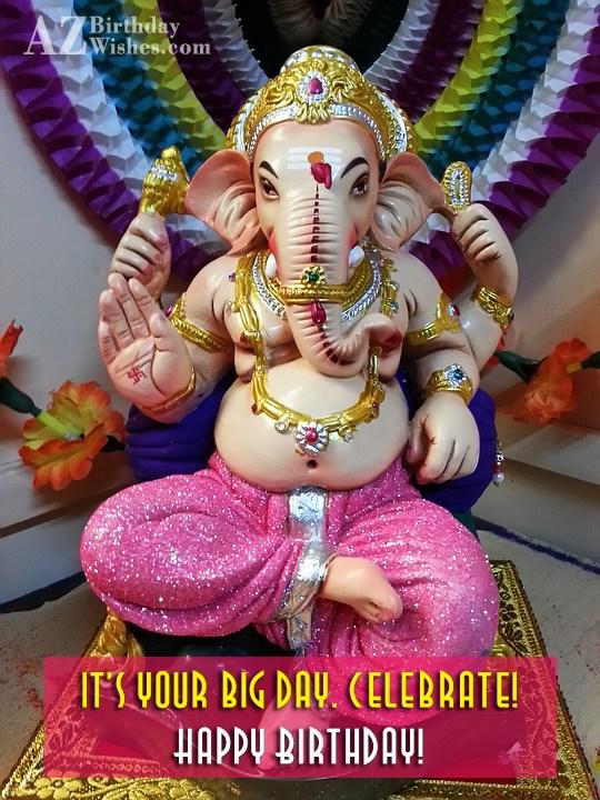 Birthday wish on a beautiful statue of Ganesha… - AZBirthdayWishes.com