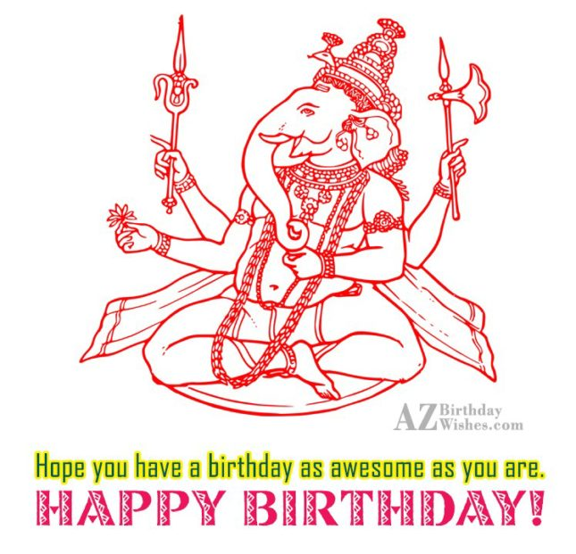 Birthday wish on a sketch of Ganesha… - AZBirthdayWishes.com