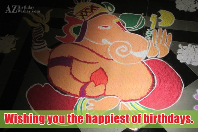 Wishing birthday on Rangoli of Ganesha… - AZBirthdayWishes.com