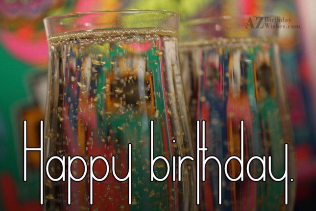 Happy birthday on Champagne glasses… - AZBirthdayWishes.com