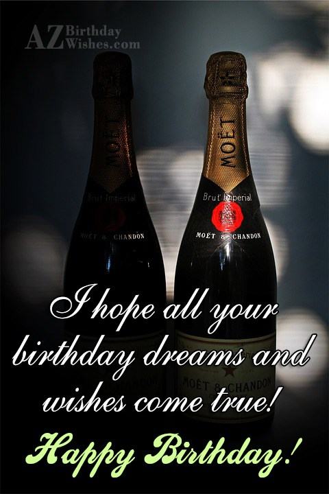 Birthday greetings on Champagne bottles… - AZBirthdayWishes.com