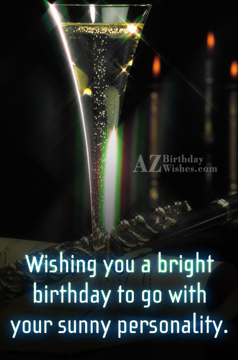 Birthday wish on a glass of sparkling champagne… - AZBirthdayWishes.com