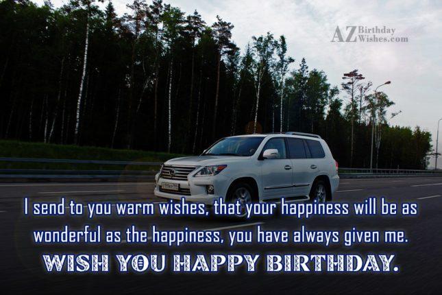 sending warm wishes on birthday on a moving white car… - AZBirthdayWishes.com