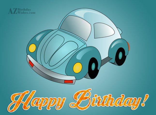 Happy birthday on cartoon car… - AZBirthdayWishes.com