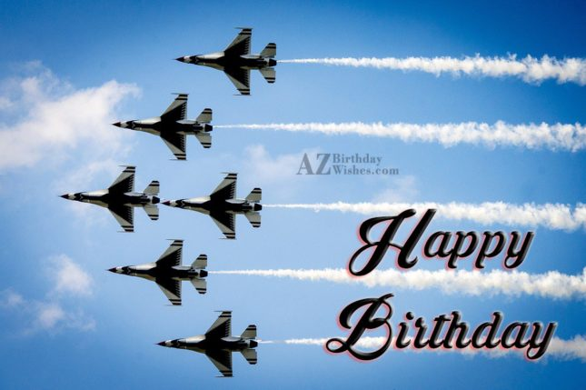 Happy Birthday with flying Aeroplane… - AZBirthdayWishes.com