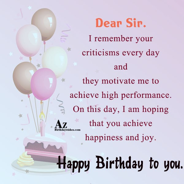 Dear sir I remember… - AZBirthdayWishes.com