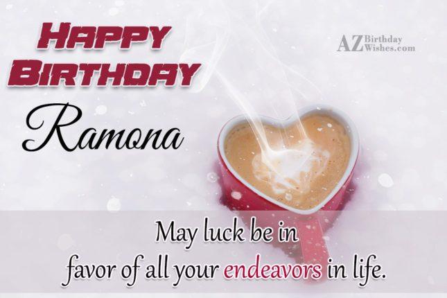 Happy Birthday Ramona - AZBirthdayWishes.com