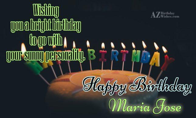 Happy Birthday Maria Jose - AZBirthdayWishes.com