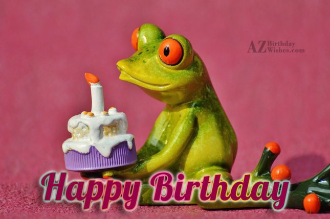 Happy birthday with frog holding cake in background - AZBirthdayWishes.com