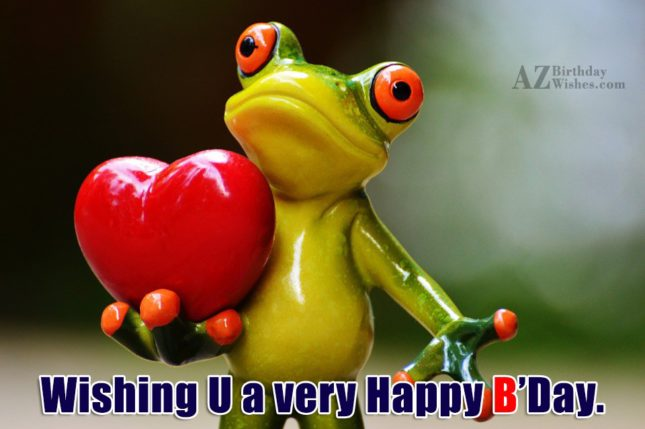 Happy birthday with frog holding heart in background - AZBirthdayWishes.com