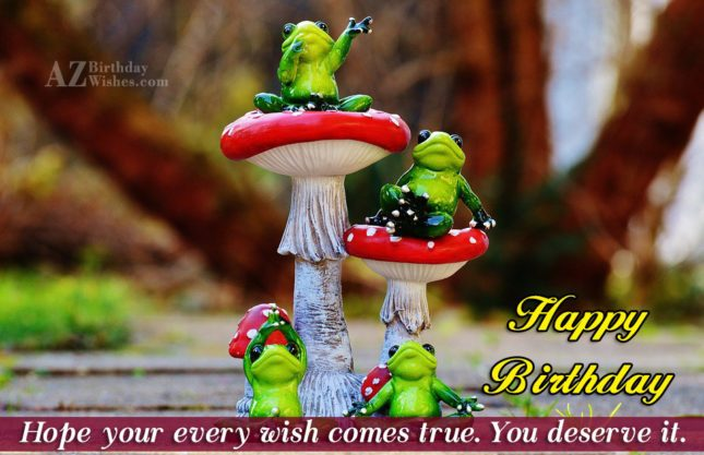 Happy birthday greeting with frogs in the background - AZBirthdayWishes.com