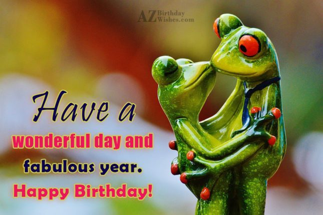 Birthday greeting with frogs kissing in the background - AZBirthdayWishes.com