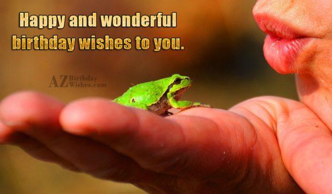 Birthday greeting with lady kissing frog… - AZBirthdayWishes.com