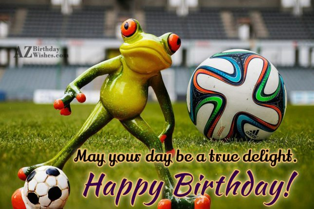 Happy birthday with frog playing soccer in background - AZBirthdayWishes.com